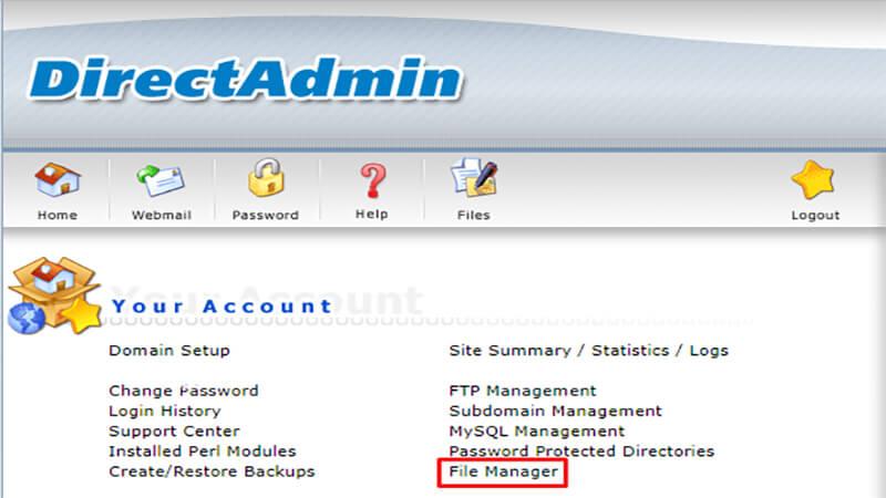 file manager در دایرکت ادمین