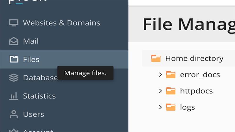 ورود به file manager در پلسک